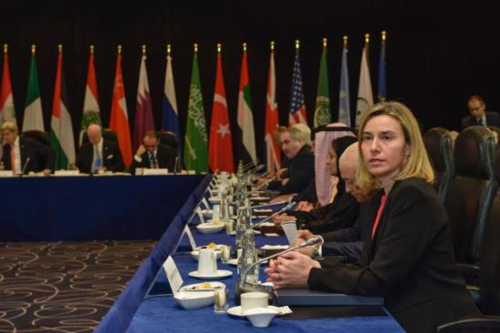 Federica Mogherini, in the foreground, during a meeting of the International Syria Support Group (ISSG), which didn't manage to offer any kind of support to the devastated country. Date: 11/02/2016. Location: Munich.© European Union, 2016/ Source: EC - Audiovisual Service/Photo: Günter Schiffmann.