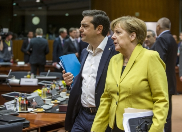 Alexis Tsipras, Greek Prime Minister (on the left) and Angela Merkel, German Federal Chancellor walk together in the room where the EU heads of state or government met Ahmet Davutoğlu, Prime Minister of Turkey, for the working session to agree the terms of the EU-Turkey cooperation. The two leaders have almost the same pensive gaze and mood. Merkel probably ponders if she can trust the Greek to fulfill the obligations he has undertaken and Tsipras seems skeptical about the abilities of his country's government agencies to deliver. Brussels, Friday 18 March 2016. (EU Audiovisual Services).