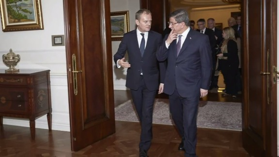 Between the 1st and 4th of March, Donald Tusk, President of the European Council, visited 7 countries of the Western Balkans route and Turkey to continue building a European consensus on how to handle the migration crisis. These visits will help prepare today's summit with Turkey. Tusk (on the left) is pictured here with Ahmet Davutoglu, the Turkish Prime Minister. (EU Audiovisual services. Shoot date: 04/03/2016, Location: Brussels, Belgium. © European Union).