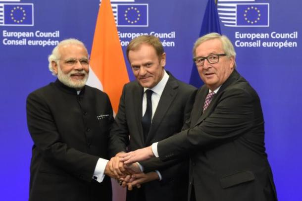 Handshake between Narendra Modi, Donald Tusk and Jean-Claude Juncker (from left to right) Date: 30/03/2016 / Source: EC – Audiovisual Service / Location: Brussels - Council / Photo: Justus Lipsius