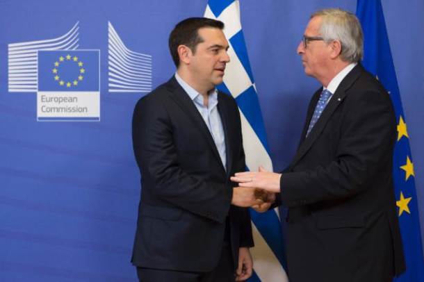 Handshake between Alexis Tsipras, on the left, and Jean-Claude Juncker/ Date: 17/02/2016. Location: Brussels – EC/Berlaymont. © European Union, 2016 / Source: EC – Audiovisual Service / Photo: Etienne Ansotte.