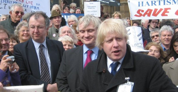Boris Johnson, M.P. for Henley with Liberal Democrat M.P. John Hemming at a demonstration against hospital closures (Hemming, 2006)