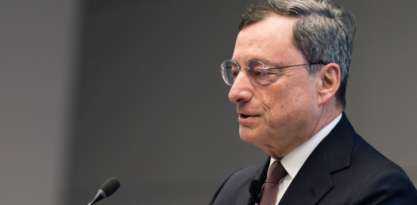 The European Central Bank, under its President Mario Draghi (pictured here) injects every month tens of billions of newly printed euro into the Eurozone's financial sector. The target is to revive the fading inflation and bring it towards the target of close to 2%, and by the same token revitalize the real economy. Towards this end the ECB bought public and private sector paper securities worth €85 billion in April under its expanded asset purchase program. (ECB Audiovisual Services).
