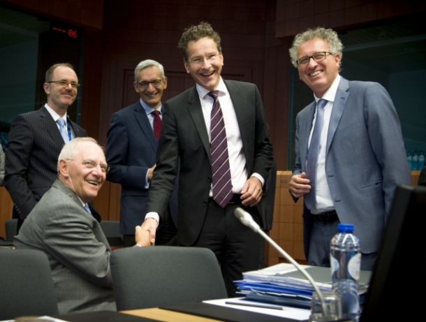 From left to right: Mr Wolfgang SCHAUBLE, German Federal Minister for Finance; Mr Jeroen DIJSSELBLOEM, President of the Eurogroup; Mr Pierre GRAMEGNA, Luxembourg Minister of Finance. Date: 24/05/2016. Location: Brussels – Belgium. © European Union, 2016