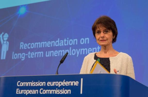 Marianne Thyssen, Member of the European Commission in charge of Employment, Social Affairs, Skills and Labor Mobility, gave a press conference to present the EC proposed guidance to member states to better help long-term unemployed return to work. Date: 17/09/2015. Location: Brussels - EC/Berlaymont. © European Union, 2015 / Source: EC - Audiovisual Service / Photo: Georges Boulougouris.