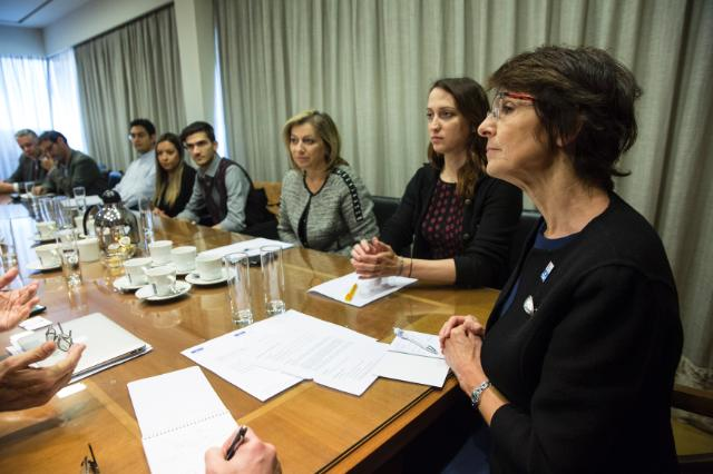 "Visit by Marianne Thyssen, member of the European Commission in charge of Employment, Social Affairs, Skills and Labour Mobility to Greece. There, Thyssen attended a meeting regarding the ""Voucher for youth up to 29 years old in private enterprises in the Tourism Sector to obtain work experience"". The various EU programs for training and work experience have not succeeded in alleviating the exclusion feeling of the EU's youths. Date: 21/04/2016. Location: Athens. © European Union, 2016 / Photo: Yorgos Karahalis."