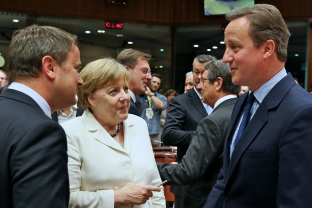 European Council - June 2016. EU Heads of State or Government met on 28 June 2016 in Brussels. Over dinner the Heads of State or Government discussed the outcome of the referendum in the United Kingdom with Prime Minister Cameron (first from right). Here Cameron is pictured with the German Chancellor Angela Merkel and the Prime minister of Luxembourg Xavier Bettel. (Shoot location: Brussels – Belgium. Shoot date: 28/06/2016. Copyright: 'The European Union').