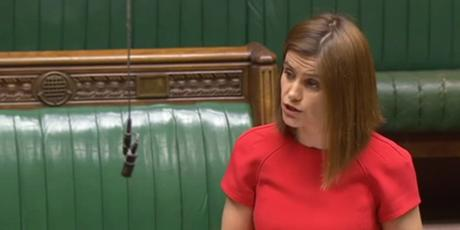 Jo Cox, photographed here in her maiden speech in the House of Commons, was elected to represent the constituency of Batley and Spen in the 2015 General Election. She was a member of the Communities and Local Government Select Committee of the House of Commons from July 2015 until March 2016. (House of Commons audiovisual services, http://www.parliament.uk).