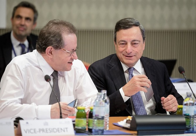 ECB Governing Council Meeting and Press Conference of 2 June 2016 in Vienna. The President of ECB Mario Draghi (on the right) accompanied by the Vice - President Vítor Constâncio explained the Governing Council's latest monetary policy decisions and answered questions from journalists at a press conference in the afternoon. The ECB is currently pumping hundreds of billions into the euro area banking sector, in the hope that 'money matters' and will help the real economy gain a sustainable and robust growth path. If not…