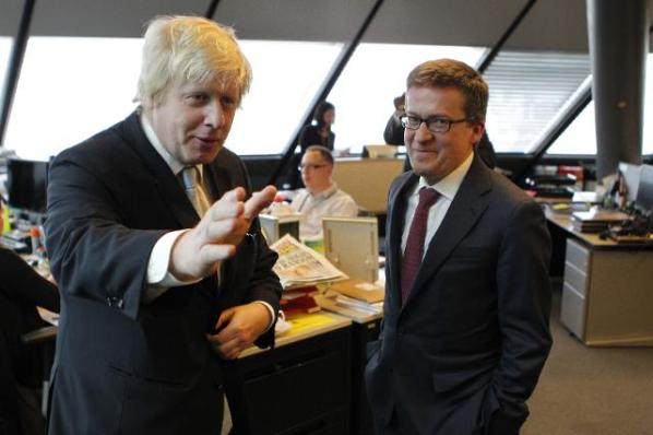 Carlos Moedas, Member of the EC in charge of Research, Science and Innovation (on the right) met Boris Johnson in London, when the latter was the then Mayor of the British capital. (Date: 23/03/2015. Location: London - City Hall. © European Union, 2015 / Source: EC - Audiovisual Service / Photo: Cyril Villemain).