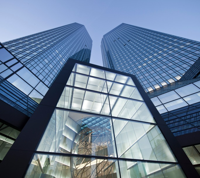 Deutsche Bank Towers – View of the entrance. Headquarters in Frankfurt am Main. (Deutsche Bank Audiovisual Services).