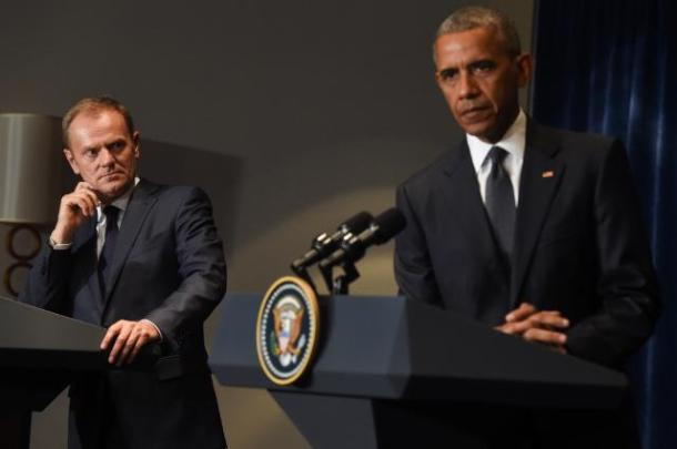 Donald Tusk and Barack Obama Nato Warsaw July 2016