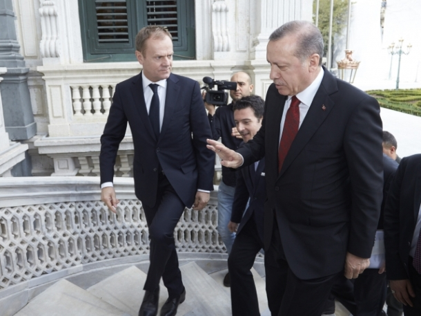 Donald Tusk, President of the European Council (on the left), some months ago visited the countries along the Balkan route and Turkey. In Istanbul he met with President Recep Tayyip Erdogan. (Shoot location: Istanbul – Turkey. Shoot date: 04/03/2016. Copyright: 'The European Union')