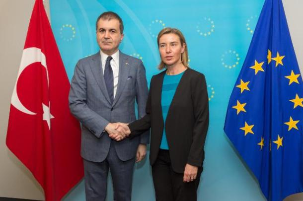 Handshake between Ömer Çelik, on the left, and Federica Mogherini Date: 30/06/2016. Location: Brussels - EC/Berlaymont. Source: EC - Audiovisual Service. © European Union, 2016. Photo: Georges Boulougouris