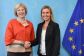 Handshake between Theresa May, on the left, and Federica Mogherini.  Date: 22/09/2015. Location: Brussels - EC/Berlaymont.  © European Union, 2015. Source: EC - Audiovisual Service.   Photo: Etienne Ansotte