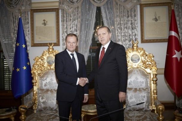 From left to right: Mr Donald TUSK, President of the European Council; Mr Recep Tayyip ERDOGAN, Turkish President. Location: Istanbul - TURKEY. Date: 04/03/2016. Source: EC – Audiovisual Service. © European Union, 2016.