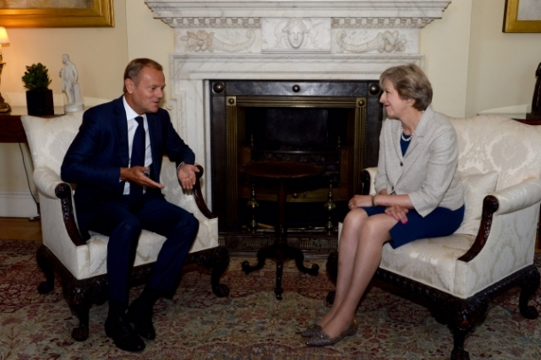 President Tusk meets Prime Minister Theresa May (UK) From left to right: Mr Donald TUSK, President of the European Council; Ms Theresa MAY, UK Prime Minister. Location: London - UNITED KINGDOM  Date: 08/09/2016  Copyright: European Union