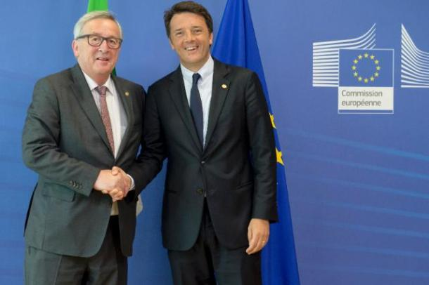 Jean-Claude Juncker, President of the European Commission (on the left), received Matteo Renzi, Italian Prime Minister. Date: 28/06/2016. Location: Brussels - EC/Berlaymont. © European Union, 2016/Source: EC - Audiovisual Service/Photo: Etienne Ansotte.