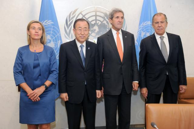 The 71th session of the United Nations General Assembly. Middle East Quartet: (L-to-R) Federica Mogherini, High Representative of the European Union for Foreign Affairs and Security Policy and Vice-President of the Commission Ban Ki-moon, UN Secretary General, John Kerry, US Secretary of State and Sergei Lavrov, Russian Foreign Minister. (Date: 23/09/2016. Location: New York. © European Union , 2016 / Source: EC -Audiovisual Service / Photo: Andrea Renault). Renault).