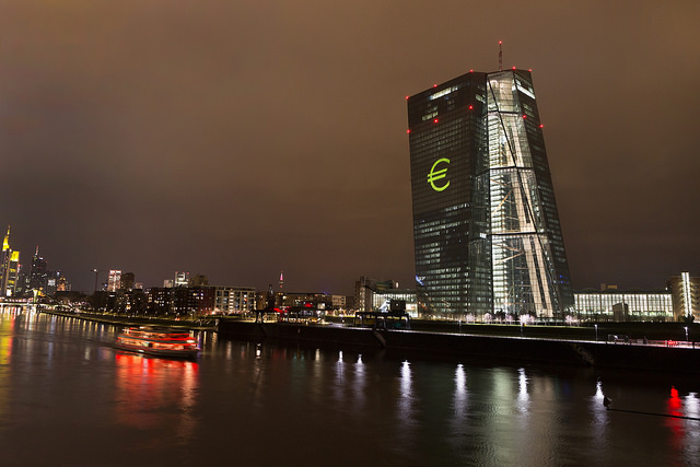 European Central Bank. Main building in Frankfurt am Main, Germany, illuminated. (Work of ECB Audiovisual Services).