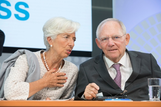 IMF/World Bank annual meetings in Washington, U.S., October 2016. AM16 CNN Debate on the Global Economy International Monetary Fund Managing Director Christine Lagarde (L) and German Finance Minister Wolfgang Schauble participate in a CNN Debate Seminar on Global Economy October 6, 2016 at part of the 2016 IMF/World Bank Annual Meetings in Washington, D.C. (IMF Staff Photo/Stephen Jaffe).