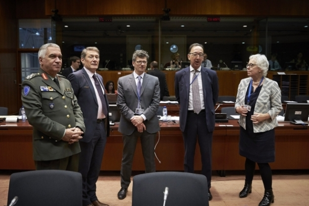 From left to right: Four star General Mikhail Kostarakos, Chairman of the European Union Military Committee, Karel Erjavec, Slovenian Minister for Foreign Affairs, and second from right Jorge Domecq, Chief Executive of the European Defense Agency. Shoot location: Brussels – Belgium, Shoot date: 15/11/2016. Copyright: European Union.