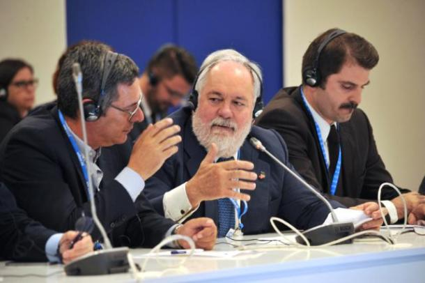 "COP22, Marrakech, 13/11-18/11/2016, Miguel Arias Cañete, in the center, during the conference ""Joint Solutions for a Sustainable Planet"" as part of EU Energy Day. Date: 14/11/2016   Location: Marrakesh © European Union , 2016 / Photo: Ouarrak Abdessaliaa"