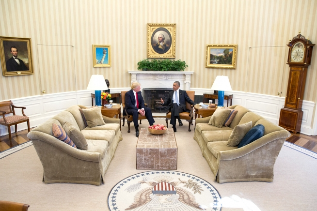 President Barack Obama meets with President-elect Donald Trump in the Oval Office, November 10, 2016. (Official White House Photo by Pete Souza).