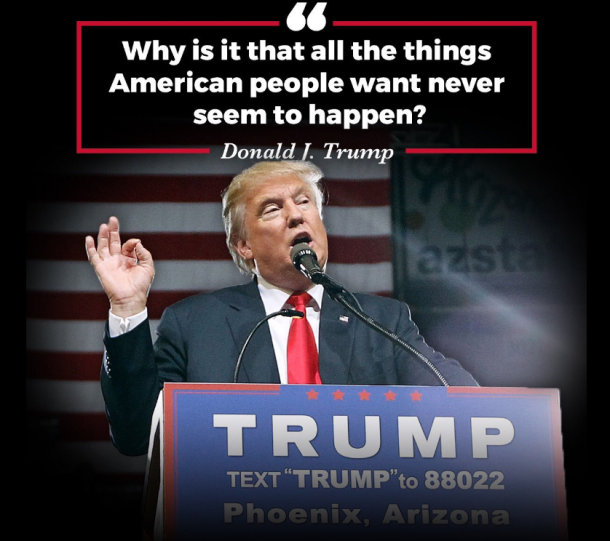 Trump promised everything the Americans wanted, to win the race for the White House. Gallery Archive, from 'The Campaign Trail with Donald J. Trump'. Donald J. Trump for President, Inc.