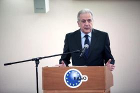 Dimitris Avramopoulos, Member of the EC in charge of Migration, Home Affairs and Citizenship visits Athens where he attends the EASO Consultative Forum plenary meeting 2016 and participates in a press event. Date: 28/11/2016   Reference: P-032978/00-03   Location: Athens. © European Union , 2016   /   Photo: Angelos Tzortzinis.