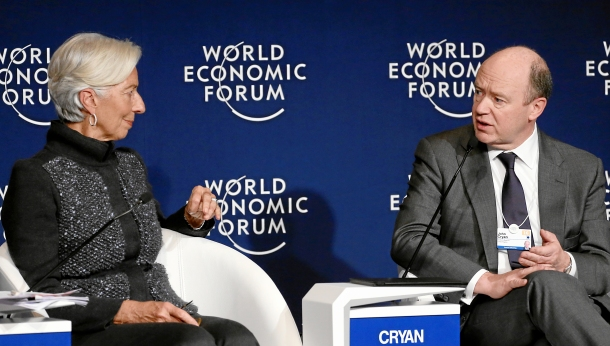 Davos, Switzerland, 20/1/2016 - Christine Lagarde, Managing Director, International Monetary Fund (IMF) and John Cryan, Chief Executive Officer, Deutsche Bank, captured during the session 'The Transformation of Finance' at the Annual Meeting 2016 of the World Economic Forum in Davos, Switzerland, January 20, 2016. IMF has labeled Deutsche Bank as a major risk to the global financial system. (WORLD ECONOMIC FORUM/swiss-image.ch/Photo Remy Steinegger. No changes made. Only some rights reserved).