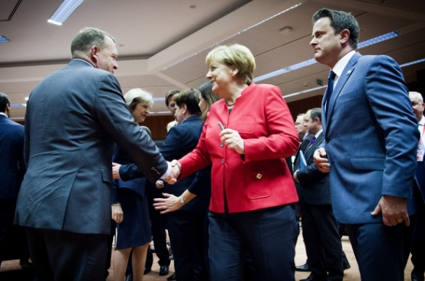 European Council - October 2016. The EU Heads of State or Government met on 20 October 2016 in Brussels. The leaders discussed relations with Russia and the situation in Syria. From left to right: Lars Lokke Rasmussen, Danish Prime Minister, Angela Merkel, German Federal Chancellor, Xavier Bettel, Luxembourg Prime Minister. In the background Teresa May, Prime Minister of Britain is seen. Shoot location: Brussels – Belgium. Shoot date: 20/10/2016. Copyright: European Union.