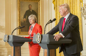Washington D.C., 27 January 2017. The British Prime Minister Teresa May and the US President Donald Trump held a joint press conference after their meeting at the White House. (Foto: UK Government work).