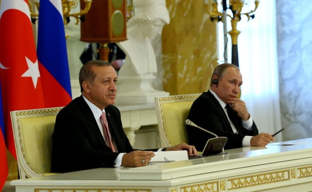 Moscow, Kremlin, 9.8.2016. President Vladimir Putin of Russia (on the right) and Turkish President Tayyip Erdoğan delivered a joint press conference after their meeting in Moscow. Russia was the first foreign country Erdogan visited after the attempted coup of July last year. (9 August 2016. Foto: Turkish Presidency work).