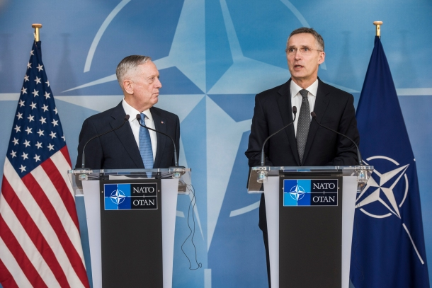Jens Stoltenberg, NATO Secretary General (on the right) and James Mattis, the US Secretary of Defense delivered a joint statement after a bilateral meeting, in the context of the regular gathering of NATO ministers of defense. Brussels, Belgium, 15-16 February 2017. (NATO photo gallery).