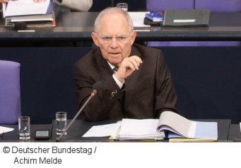 Wolfgang Schäuble, the German Federal minister for Finance, addressing the Plenary of the Bundestag. City: Berlin. Country: Deutschland. Date taken: 17.02.2016. Photographer: Achim Melde. German Parliament work.
