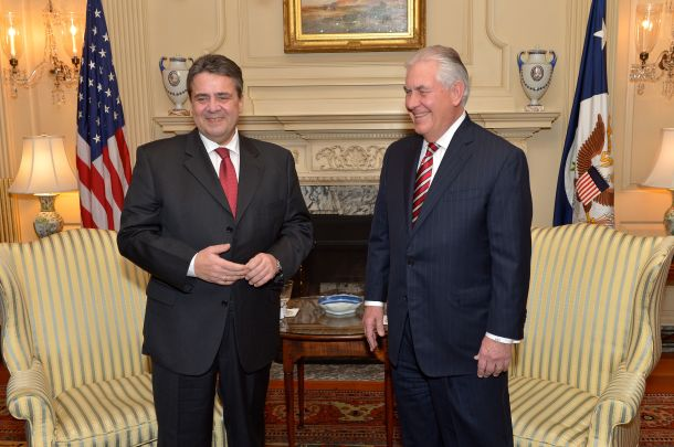 U.S. Secretary of State Rex Tillerson (on the right) and German Foreign Minister Sigmar Gabriel share a laugh before their bilateral meeting at the U.S. Department of State in Washington, D.C., on February 2, 2017. [State Department photo/ Public Domain].