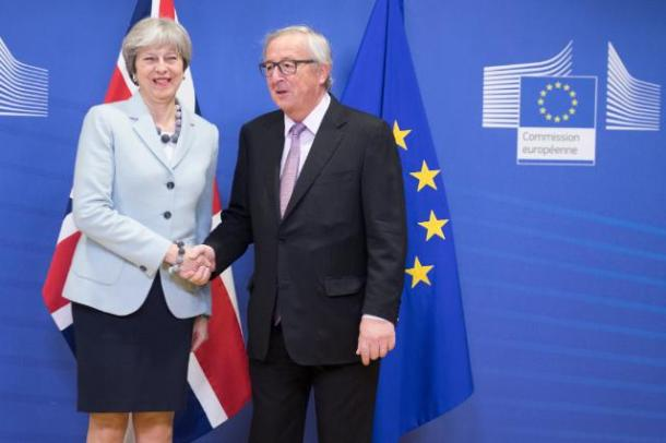 Jean-Claude Juncker and Theresa May at last week's EU Council. Source: EC Audiovisual Services / Copyright: European Union, 2017 / Photo: Etienne Ansotte