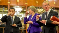 Prime Minister Theresa May in China met with President Xi Jinping. Here the May couple drinks Chinese tea with the country's leader. (Taken on February 1, 2018. UK government work, public domain).
