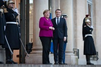 "On the authority of Chancellor Angela Merkel, Germany and France are ""ready and willing"" to take a proactive stance and address the challenges of the 21st century together. The Chancellor was on official visit in France for three days during 19 - 21 January 2018, to mark the 55th anniversary of the signing of the Elysée Treaty between the two nations. Photo: Bundesregierung/Bergmann."