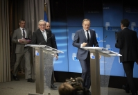 Jean-Claude Juncker, President of the European Commission (first from left) and Donald Tusk, President of the European Council, take their position for the Press conference after the European Summit of 23 February 2018. Shoot location: Bruxelles – Belgium. Shoot date: 23/02/2018. Copyright: European Union.