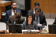 Nikki R. Haley, Permanent Representative of the United States to the United Nations, addresses the Security Council meeting on the situation in the Middle East, including the Palestinian question. 25 January 2018. United Nations, New York. UN Photo/Evan Schneider.
