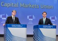 Joint press conference by Valdis Dombrovskis and Jyrki Katainen, Vice-Presidents of the EC, on initiatives from the New Capital Markets Union to promote Sustainable Finance, FinTech and Crowdfunding Date: 08/03/2018. Location: Brussels - EC/Berlaymont. © European Union , 2018. Source: EC -Audiovisual Service. Photo: Thierry Monasse