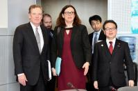 Trilateral meeting between Cecilia Malmström, Member of the European Commission in charge of Trade, Hiroshige Seko, Japanese Minister for Economy, Trade and Industry (on the right) and Robert Lighthizer, US Trade Representative (on the left). Date: 10/03/2018. Location: Brussels- EC/Berlaymont. © European Union, 2018 / Source: EC- Audiovisual Service/Photo: Mauro Bottaro.