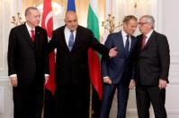 Jean-Claude Juncker, President of the European Commission (first from right), Donald Tusk, President of the European Council (second from right), Boiko Borissov, Prime Minister of Bulgaria (second from left) and Tayyip Erdogan, President of Turkey, at the EU-Turkey Leaders events in Varna, Bulgaria. Date: 26/03/2018. © European Union, 2018 / Source: EC - Audiovisual Service.