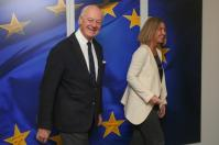 Federica Mogherini, High Representative of the Union for Foreign Affairs and Security Policy and Vice-President of the European Commission C, received Staffan De Mistura, Special Envoy of the United Nations for Syria. Smiling in Brussels without good reason. Date: 09/01/2018. Location: Brussels - EC/Berlaymont. © European Union , 2018 / Source: EC - Audiovisual Service / Photo: Chara Kaminara-Pipitsouli.