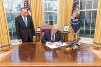 US President Donald Trump signs more overtime pay for the US Secret Service. White House photo, by Shealah Craighead
