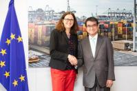 Cecilia Malmström, Member of the EC in charge of Trade, receives Tarō Kōno, Japanese Minister for Foreign Affairs. Date: 25/04/2018. Location: Brussels - EC/Berlaymont. © European Union, 2018 / Source: EC-Audiovisual Service / Photo: Lukasz Kobus.