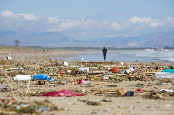 Debris strewn across beach.
