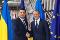 From left to right: Mr Volodymyr GROYSMAN, Prime Minister of Ukraine; Mr Donald TUSK, President of the European Council. Shoot location: Bruxelles - BELGIUM. Shoot date: 24/05/2018. Copyright: European Union